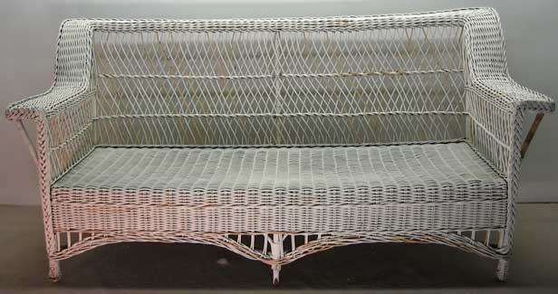 Repaired wicker couch